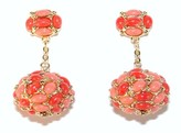 The Well Appointed House Gold Two Tone Coral Cabachon Drop Earrings