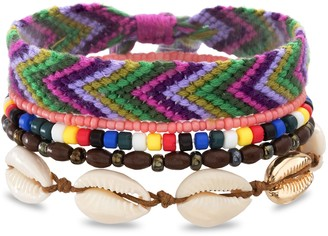 Madden-Girl Women's Shell & Beaded Stacking Bracelet Set