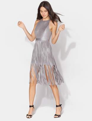 Halston Metallic Dress with Spaghetti Strips Skirt