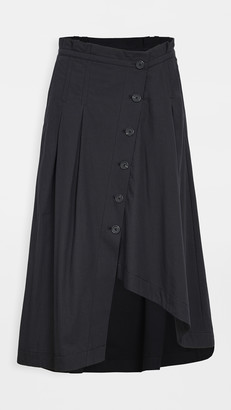 Colovos Button Down Asymmetric Skirt