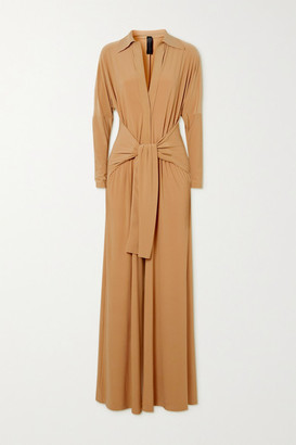 Norma Kamali Tie-front Stretch-jersey Jumpsuit - Beige