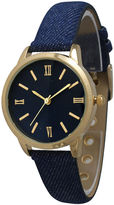 OLIVIA PRATT Olivia Pratt Womens Gold-Tone Navy Denim Faux Leather Strap Watch 14086
