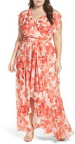 Eliza J Plus Size Women's Floral Chiffon High/low Maxi Dress