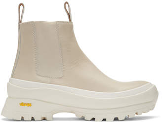 Jil Sander Off-White Rubber Sole Boots
