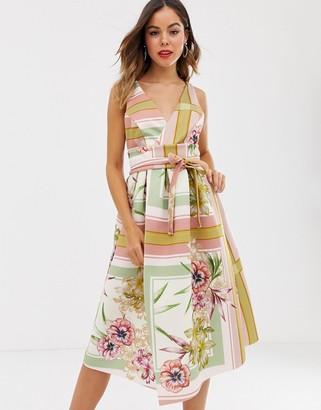 Asos Design DESIGN floral check prom midi dress-Multi