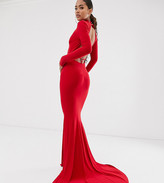 Club L London Tall LondonTall high neck long sleeve fishtail maxi dress with open back thong detail in red