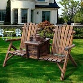 Adirondack Gwen Solid Wood Double Chair with Table Millwood Pines