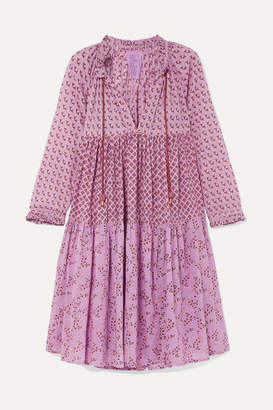 Yvonne S Tiered Printed Cotton-voile Dress - Lavender