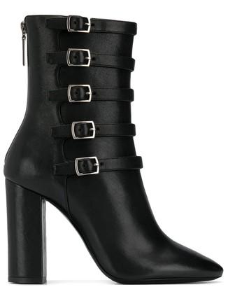 Saint Laurent Lou buckle strap ankle boots