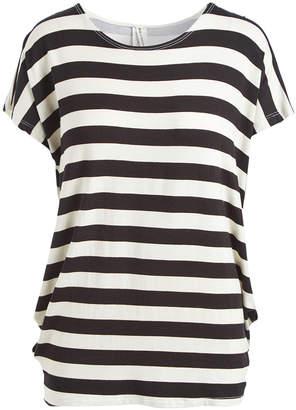 Peek A Boom Peek-a-BOOM Women's Tee Shirts Black/Ivory - Black & Ivory Stripe Side-Ruche Scoop Neck Top - Plus