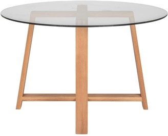 Aurelle Home Modern Simplistic Oak Glass Top Dining Table