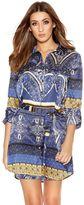 Quiz Blue And Mustard Printed Satin Shirt Dress