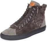 Bally Hekem Men's Suede Patchwork High-Top Sneaker, Dark Gray