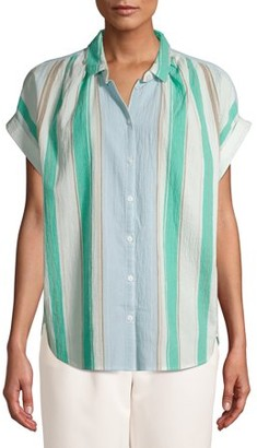 Time and Tru Women's Button Front Shirt with Rolled Sleeves