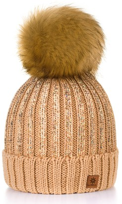 4sold Womens Ladies Winter Hat Wool Knitted Beanie Large Pom Pom Cap Ski Snowboard Hats Bobble Gold Circle (Beige)