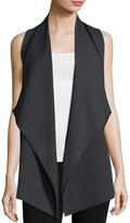 Lafayette 148 New York Asymmetric Ribbed Cardigan Vest, Smoke
