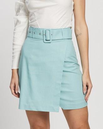Atmos & Here Scarlett Linen Blend Mini Skirt