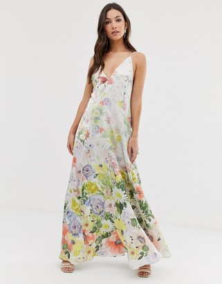 Asos DESIGN maxi cami satin trapeze dress in meadow floral print