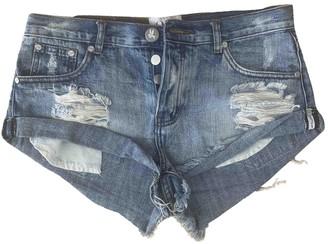 One Teaspoon Blue Cotton Shorts for Women