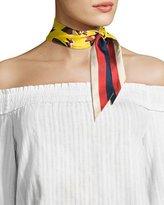 Gucci Bow & Web Skinny Silk Scarf