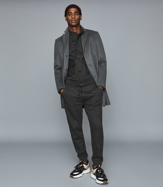 Reiss Copper - Cotton Blend Pinstriped Joggers in Charcoal