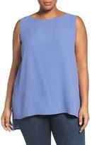 Eileen Fisher Silk Crepe Georgette Bateau Neck Shell (Plus Size)
