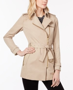 Michael Kors Michael Belted Front-Zip Trench Coat in Regular & Petite Sizes