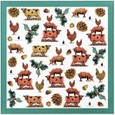 Pig, Chicken & Cow Christmas Branding Pcc 55Cm Square Scarf