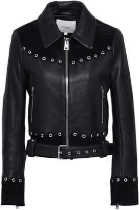Maje Eyelet-embellished Suede-paneled Leather Biker Jacket
