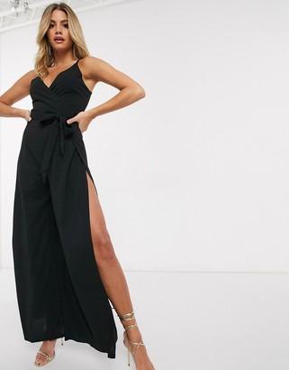 AX Paris cut out leg jumpsuit in black