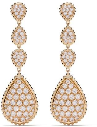 Boucheron 18kt yellow gold Serpent Boheme diamond S motif pendant earrings
