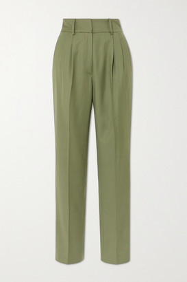 LOULOU STUDIO Rurutu Pleated Wool Slim-fit Pants - Green