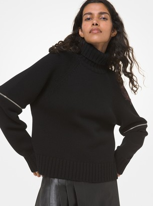 Michael Kors Cashmere Zip-Sleeve Turtleneck Sweater