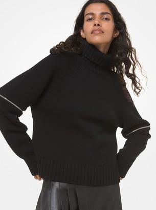 Michael Kors Cashmere Zip-Sleeve Turtleneck Sweater