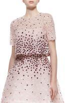 Monique Lhuillier Sequined Floral-Embroidered Split-Back Jacket, Petal Multi