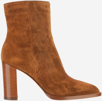 Gianvito Rossi Cognac Suede Squared High heel Ankle Boots