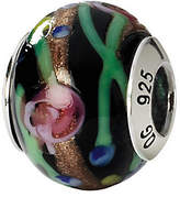 Murano Prerogatives Sterling Black & Floral Italian Glass Bead