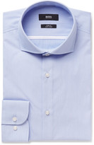 HUGO BOSS Blue Jerrin Slim-Fit Cutaway-Collar Striped Cotton Shirt