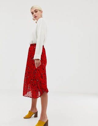 Selected abstract leopard print pleated skirt