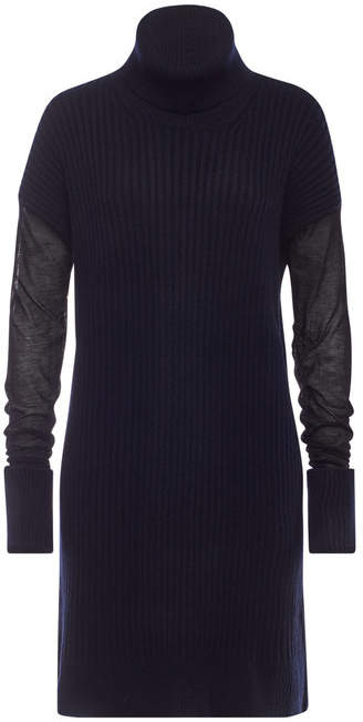Maison Margiela Wool Sweater Dress with Semi-Sheer Sleeves
