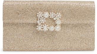 Roger Vivier Crystal Flower Buckle Envelope Clutch