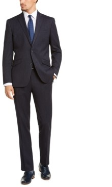 Kenneth Cole Reaction Men's Slim-Fit Ready Flex Stretch Navy Blue Crepe Stripe Suit