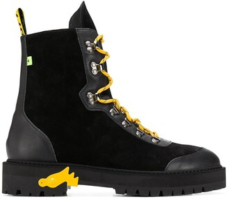 Off-White Off White contrasting lace-up boots