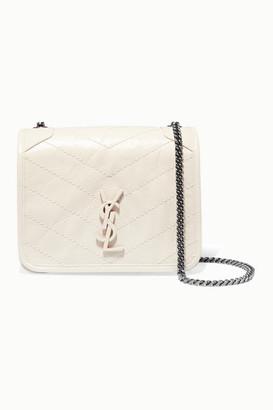 Saint Laurent Niki Quilted Crinkled-leather Shoulder Bag - White