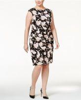 Jessica Howard Plus Size Metallic Floral Ruched Sheath Dress