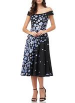 Carmen Marc Valvo Off-the-Shoulder Floral Jacquard Fit-&-Flare Cocktail Dress