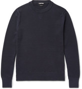 Tom Ford Waffle-knit Cotton And Silk-blend Sweater - Navy