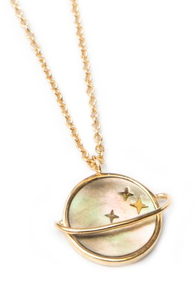 Mother of Pearl 18ct Gold Vermeil Planet Necklace
