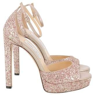 Jimmy Choo Pink Glitter Sandals