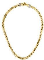 David Yurman 18K Diamond Wheat Chain Necklace
